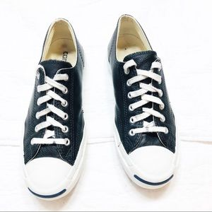 Converse Jack Purcell black leather sneakers sz7